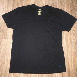 Men's Polo Ralph Lauren Black V Neck Tee, Size XL